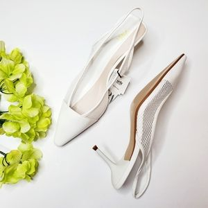 NWT Zara White Mesh Slingback Heels
